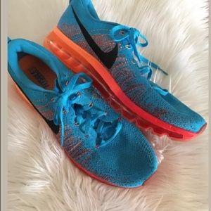 Nike Flyknit Max Vivid Blue Orange Mens 12.5